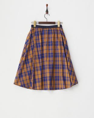 ブラウン  チェックフレアスカート見る