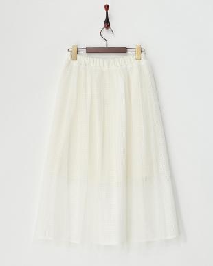 ホワイト メッシュチュールスカート見る