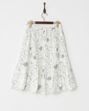 オフホワイト  フラワープリント プリーツスカート見る
