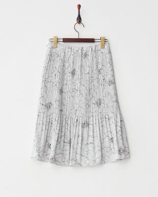 グレー  フラワープリント プリーツスカート見る