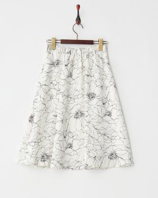 オフホワイト フラワープリント フレアスカート見る