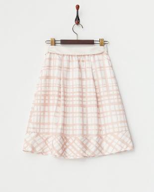 ピンク  チェックプリント タックフレアスカート見る