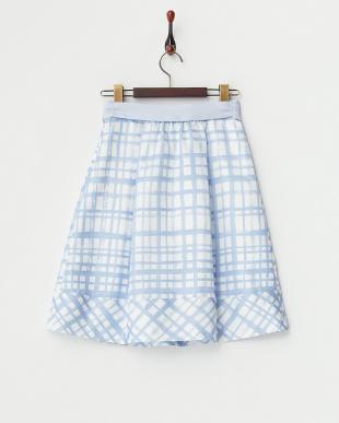 サックス  チェックプリント タックフレアスカート見る