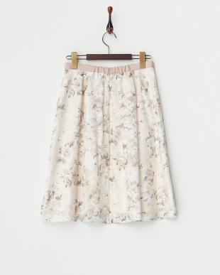 ピンク  オパールフラワーフレアスカート見る