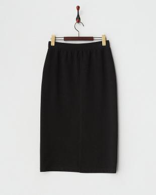ブラック  リブカットタイトスカート見る