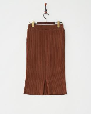 ブラウン  リブニットタイトスカート見る