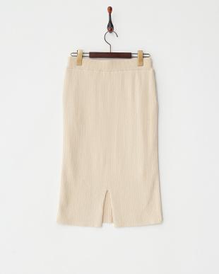 ホワイト  リブニットタイトスカート見る