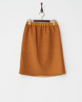 ベージュ ウール混リバースカート見る