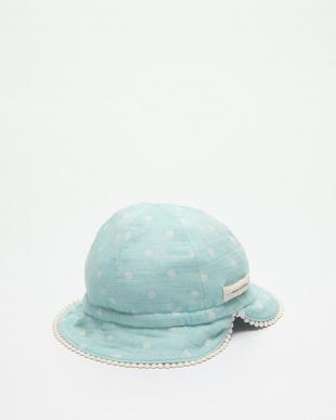 ブルー ドットガーゼリバーシブル帽子見る