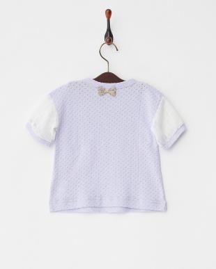 ラベンダー  袖シフォン6分丈Tシャツ見る