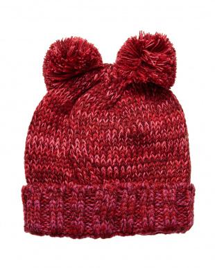 チェリーピンク  くまニット帽子見る