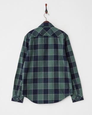 グリーン系 バッファローチェックオーバーシャツ見る