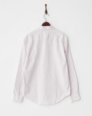 ホワイト×レッド系 オックスフォードストライプシャツ見る