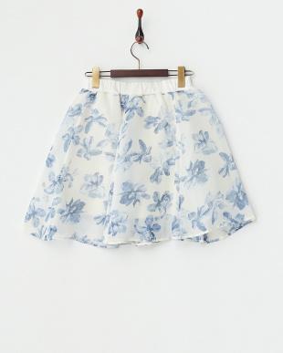 オフホワイト  花柄シフォンフレアスカート見る