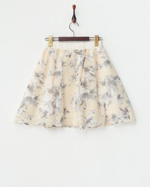 オレンジ  花柄シフォンフレアスカート見る