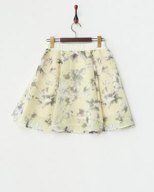 イエロー  花柄シフォンフレアスカート見る