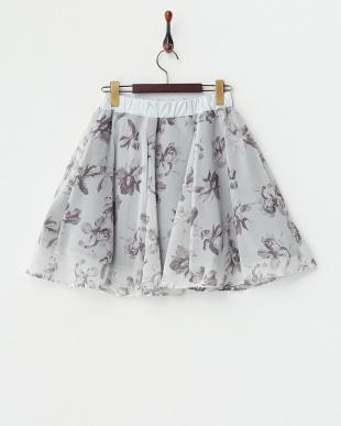グレー  花柄シフォンフレアスカート見る