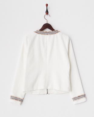 ホワイト フリンジ刺繍トリム ジャガードノーカラージャケット見る