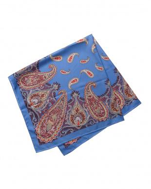 ブルー ペイズリープリントスカーフ見る