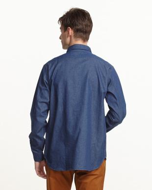 ブルー  5oz デニムプルオーバーシャツ見る