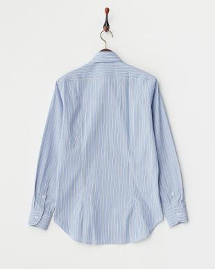 ブルー THOMAS MASON ワイドカラーシャツ見る