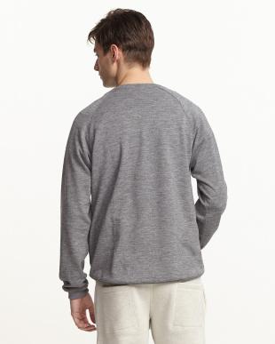 グレー  ポケット付き 紡毛プルオーバースウェットシャツ見る