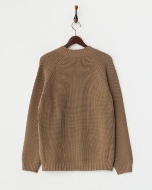 ブラウン  アゼ編みニット モックネックセーター見る
