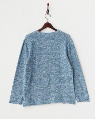 ブルー  メランジニット クルーネックセーター見る