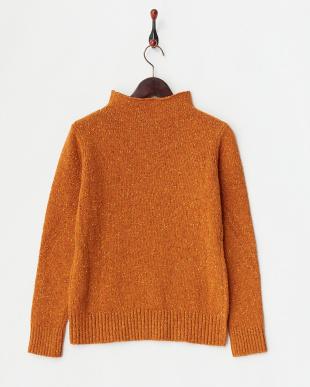 オレンジ ボトルネック ネップセーター見る