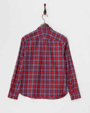 レッド 起毛チェックシャツ見る