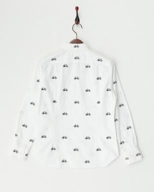 ホワイト 自転車刺繍BDシャツ見る