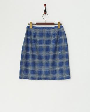 ブルー インディゴチェックジャガードスカート見る