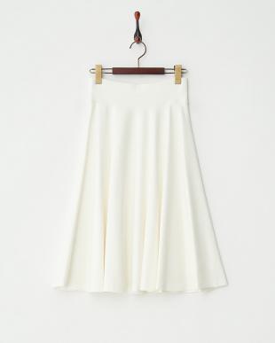 ホワイト ポンチイージーフレアスカート見る