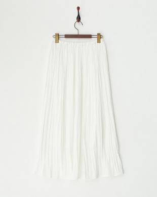 ホワイト クラッシュサテンプリーツスカート見る