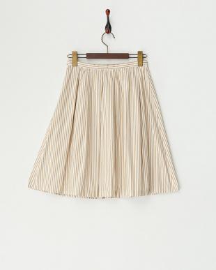 キャメル メモリーストライプスカート見る