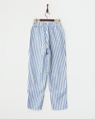 ブルー ストライプパジャマパンツ見る