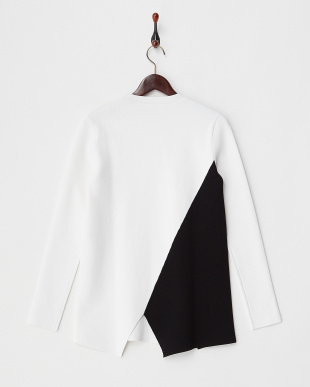 WHITE/BLACK L/S ASYM CREWNECK見る
