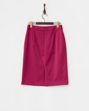 ピンク ヘビーウエイトサテン調ストレッチスカート見る