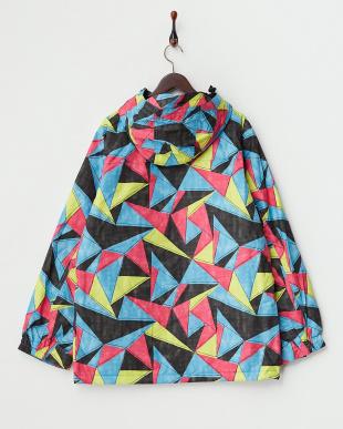 マルチカラー 幾何学柄プリントスノージャケット見る