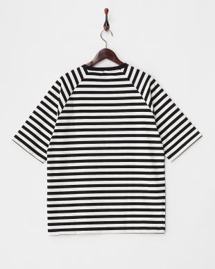BLACK  ハイカウントボリュームボーダーTシャツ 5分袖見る