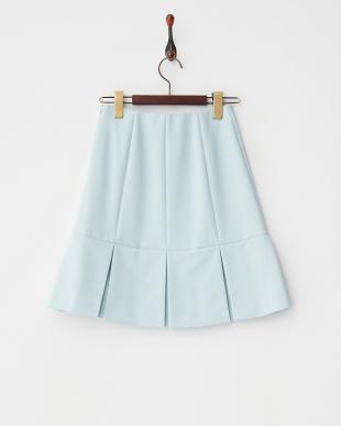 ブルー  プリーツタックフレアスカート見る