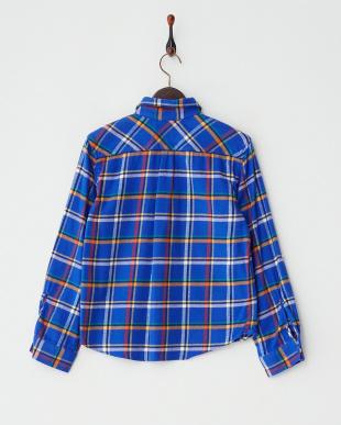 ブルー  ボックスネルチェックシャツ見る
