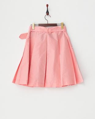 ピンク サッシュベルト付タックタフタカラースカート見る