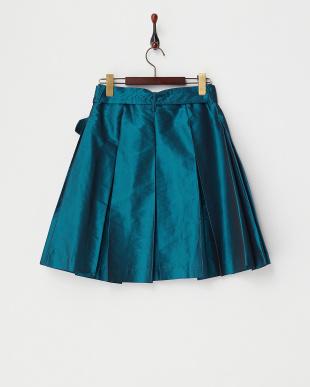 ブルー  サッシュベルト付タックタフタカラースカート見る
