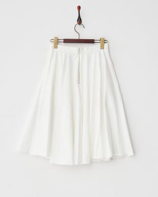 ホワイト  デニムスリムフレアスカート見る