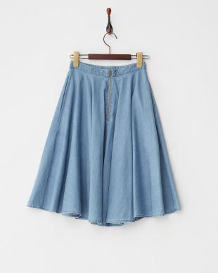 ブルー  デニムスリムフレアスカート見る
