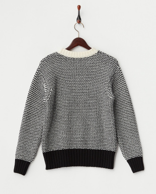 BLACK & OFF WHITE CREW NECK SWEATER見る