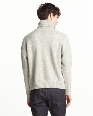 GREY  MENS OVERSIZE TURTLENECK SWEATER見る