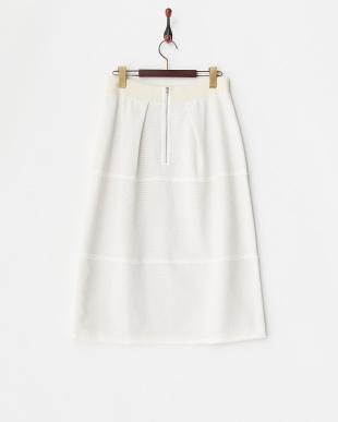 ホワイト プチフリンジコットンカラミスカート見る