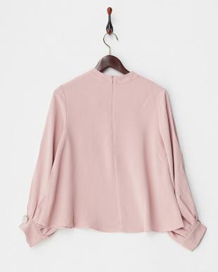 ピンク  スリットバルーンスリーブシャツ見る